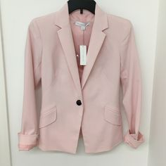 Pink One Button Blazer So cute! Brand new with tags never worn. Fitted pastel pink blazer with black button and 2 front pockets. New York & Company Jackets & Coats Blazers