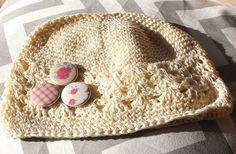 Pretty Roses   Cute Crochet Little Kids Hat  Beige by willowbeshop, $15.00