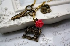 Sewing Machine Necklace Vintage Scissors Bronze Button Sew Handcrafter Rose Cute…