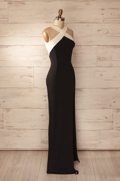 Pianella - Black and white fitted halter gown