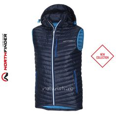Vestă pentru bărbăți Northfinder, Lenox - albastru închis - din fibre 3D, fermoar YKK®, rezistent la apă, buzunarele din față cu 2 glisiere, glugă integrată reglabilă și cu detalii reflectorizante. Vest, Jackets, Collection, Fashion, Down Jackets, Moda, Jacket, Fasion, Trendy Fashion
