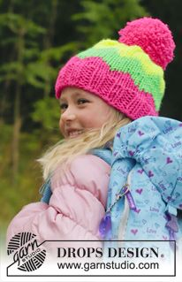 "Knitted DROPS hat with pompom and zig zag pattern in ""Peak"". ~ DROPS Design"