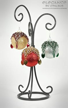 Chainmaille Wrapped Christmas Holiday Ornaments with Scales, via Etsy.