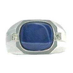 White Gold Men's Diamond & Star Sapphire Antique Cut Ring Available Exclusively at Gemologica.com