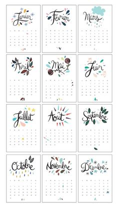 Free 2016 Calendar {French} | Le Calendrier 2016: