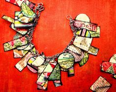 Map charm bracelet - could be a sort of wearable travel journal