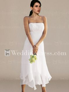 Beaded Chiffon Wedding Dress with Spaghetti Straps BC012
