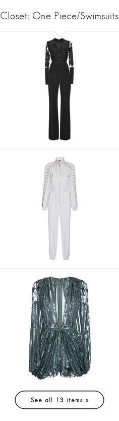 """Closet: One Piece/Swimsuits"" by carolsposito ❤ liked on Polyvore featuring jumpsuits, elie saab, dresses, gowns, playsuits, black, embroidered jumpsuit, sleeve jumpsuit, long sleeve jumpsuit and long sleeve romper"