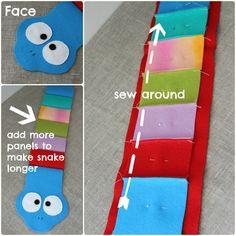 Tutorial paso a paso para hacer un peluche de serpientes de colores con fieltro TEMPLATE http://brochesdefieltro.net/wp-content/uploads/2013/03/plantilla-patron-molde-peluche-serpiente-fieltro.pdf
