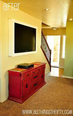 Flat Screen TV frame and dresser for storage - i like it.