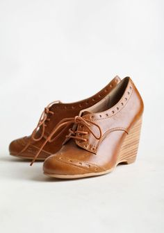 """Chelsea Crew Claire Oxford Wedges In Tan 64.99 at shopruche.com. These chic oxford wedges in a versatile tan color allows you to mix and match with your favorite dress or office pants. Stacked wedge and slightly cushioned foot bed.  3.5"""" wedge  Synthetic upper Leather lining Rubber sole Slightly padded footbed"""