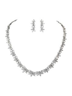 TreasureBay Gorgeous 18ct Gold Plated and Austrian Crystal Necklace and Earrings Jewellery Set Floral Design - Presented in a beautiful jewellery gift box *** Check out the image by visiting the link. #JewellerySets