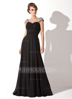 A-Line/Princess Sweetheart Court Train Chiffon Evening Dress With Ruffle Beading Sequins (017005826) - JJsHouse