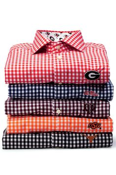 Gingham Game-Day Button-Down - New Gameday Gear - Southernliving. Button-downs aren't just for men. These crisp, tailored dress shirts come with logos in your team colors and are a perfect tailgate outfit for both genders.  Buy It: $110; thomasdeanco.com 	Team Colors Available: red, purple, garnet, maroon, blue, cardinal, burnt orange, and crimson.