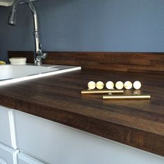 Old Mill Oak Formica. Faux Butcher Block. Gold Cabinet Hardware. {a Sugared