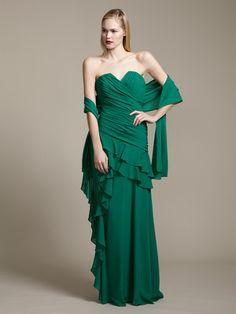 Badgley Mischka Collection  Silk Sweetheart Ruffle Gown