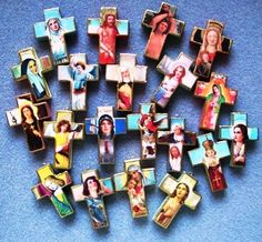 Handmade wooden cross necklaces featuring your favorite saint or religious figure. Beautiful!
