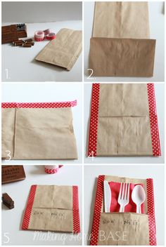 How to make a paper bag picnic utensil holder using washi tape... Would be fun for a family BBQ