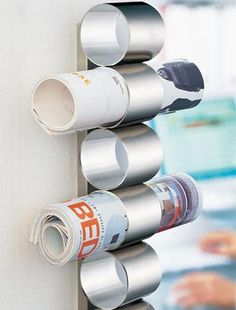 Tube magazine holder fun for family mail station! Everyone has their own tube.