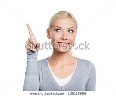 Woman pointing up with forefinger, isolated on white - stock photo