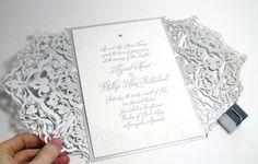 site has various laser-cut invites | Spark Impress metallic silver laser-cut invitation