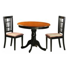 East West Furniture Antique 3 Piece Pedestal Round Dining Table Set with Nicoli Microfiber Seat Chairs - ANNI3-BLK-C