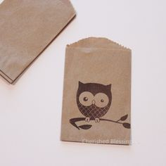 Woodland Owls party favor idea - fill with easy to plant seeds? {20 mini bags for $5.99, via Etsy}
