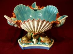 C1860 Royal Worcester Majolica Nautical Shell Dolphin Fish Centerpiece