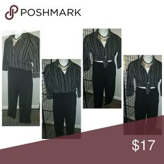Pin stripe fab bundle Pin stripe fab bundle   Colar pinstriped blouse Size: Medium  By: Fred David  Styled with solid black dress pants Size: 6P By: Briggs New York   And a really cute layered necklace to make the look POP. Gold heels would look fab! Wear blouse tied slightly showing your midriff. Fred David Tops Button Down Shirts