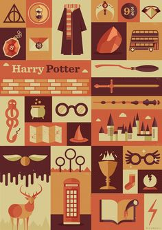 Harry Potter Items Art Print by Risa Rodil | Society6 | Cool! I want it.... But it says $15, was $10. That is not an improvement!