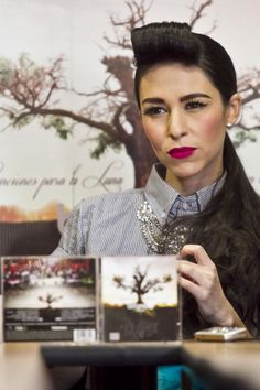 Denisse Guerrero from the electropop band Belanova poses during a press conference to present their new record Canciones para la Luna at Universal...