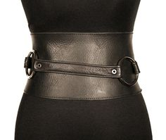 Black two-piece leather belt / TWO-PIECE BELT. via Etsy.