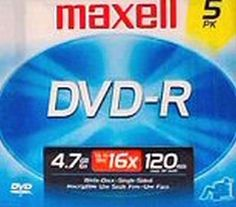 Maxell Dvd-R 5Pk 2 Hour (2-Pack) by Maxell. $19.49