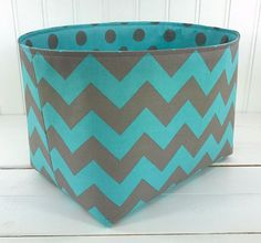 Storage Bin, Nursery Decor, Organizer Basket, Diaper Storage, Fabric Bin, Fabric Basket, Home Decor, Chevron ZigZag, Aqua Blue, Gray, Grey