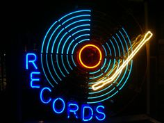 RECORDS neon sign. Light show. #djculture #records #neonsigns http://www.pinterest.com/TheHitman14/dj-culture-vinyl-fantasy/