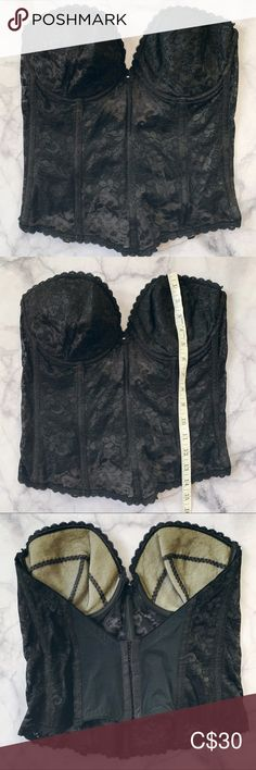 """Vintage black corset 38C Black vintage corset 38C from JC Penney 14"""" across 14"""" from top of cup to bottom Made from polyester / rayon lace with lined cups Boning isn't totally straight in some places due to storage, but smooths out when pressed against the body and closure is fastened. jcpenney Intimates & Sleepwear Bras Vintage Corset, Black Corset, Plus Fashion, Fashion Tips, Fashion Trends, Vintage Black, Closure, Storage, Places"""