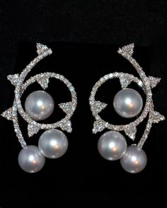South Sea Pearl and Diamond Earrings 18K White Gold, France