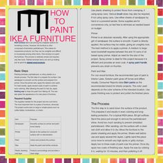 HOW TO PAINT IKEA FURNITURE and laminate, particleboard, or shiny plastic furniture. 1) Sand w/ 80-grit paper just enough to remove particleboard shine. Avoid too much sanding to prevent shredded particleboard. 2) Spray w/ an oil-based spray primer; dry. 3) Paint; dry; apply more coats. Use interior latex paint for non-wood furniture. CR rated Behr best for interior projects. 4) Use paste finishing wax to seal & protect it. ~ ebay.com/gds/Can-I-Paint-IKEA-Furniture-/10000000178627020/g.html