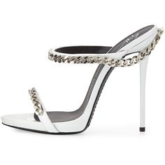 Giuseppe Zanotti Chain-Link Leather Sandal (1.750 BRL) ❤ liked on Polyvore featuring shoes, sandals, high heel sandals, white sandals, white strap sandals, white leather shoes and white platform sandals