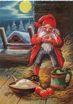 """Photo from album """"Lars Carlsson"""" on Yandex. Norwegian Christmas, Scandinavian Christmas, Christmas Illustration, Illustration Art, Christmas Knomes, Baumgarten, Kobold, Legends And Myths, Elves And Fairies"""