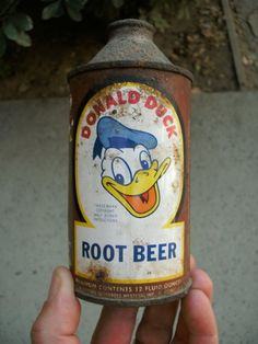 1940s cone top Donald Duck Root Beer can.