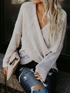 Simple Casual V Neck Front Cross Weekend Sweater Top #TodaysFashionTrends