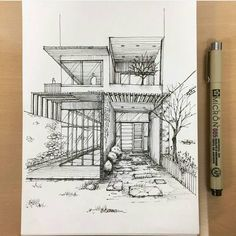 "7,102 mentions J'aime, 67 commentaires - Architecture - Daily Sketches (@arch_more) sur Instagram : ""By @jr_draw #arch_more"""