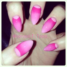 Gradient half moon nails. Um awesome!