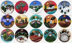92 отметок «Нравится», 6 комментариев — Michela Bufalini (@bufalinipebbleart) в Instagram: «Rotondi pensieri...» Pebble Art, Stone Art, Stone Painting, Rock Art, Painted Rocks, Diy And Crafts, Instagram Posts, Naive, Hobbies