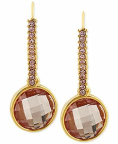 Betsey Johnson Antique Gold-Tone Pink Crystal Drop Earrings - Fashion Jewelry - Jewelry & Watches - Macy's