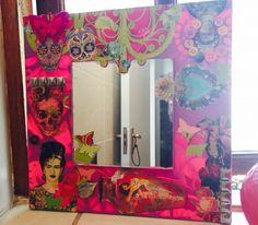 Mixed media mirror - skulls and Frida
