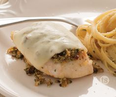 Pesto Chicken with Creamy Herb Linguine recipe