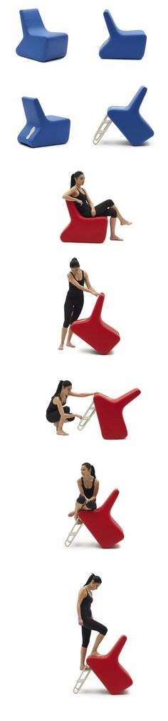 'slope' by lorenzo damiani for campeggi is an armchair, little ladder and informal seat at the same time. // http://www.lorenzodamiani.net/