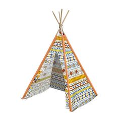 Shop for Aztec Tribal Kids' Multicolor Canvas Play Teepee With Wooden Poles. Play Teepee, Teepee Kids, Teepee Tent, Play Tents, Bamboo Poles, Wooden Poles, Tent Reviews, Go To Walmart, Toddler Furniture